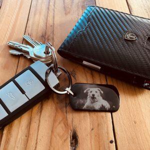 Dog Tag Schlüsselanhänger/Anhänger Halskette mit individueller Fotogravur und schützender Gelschicht